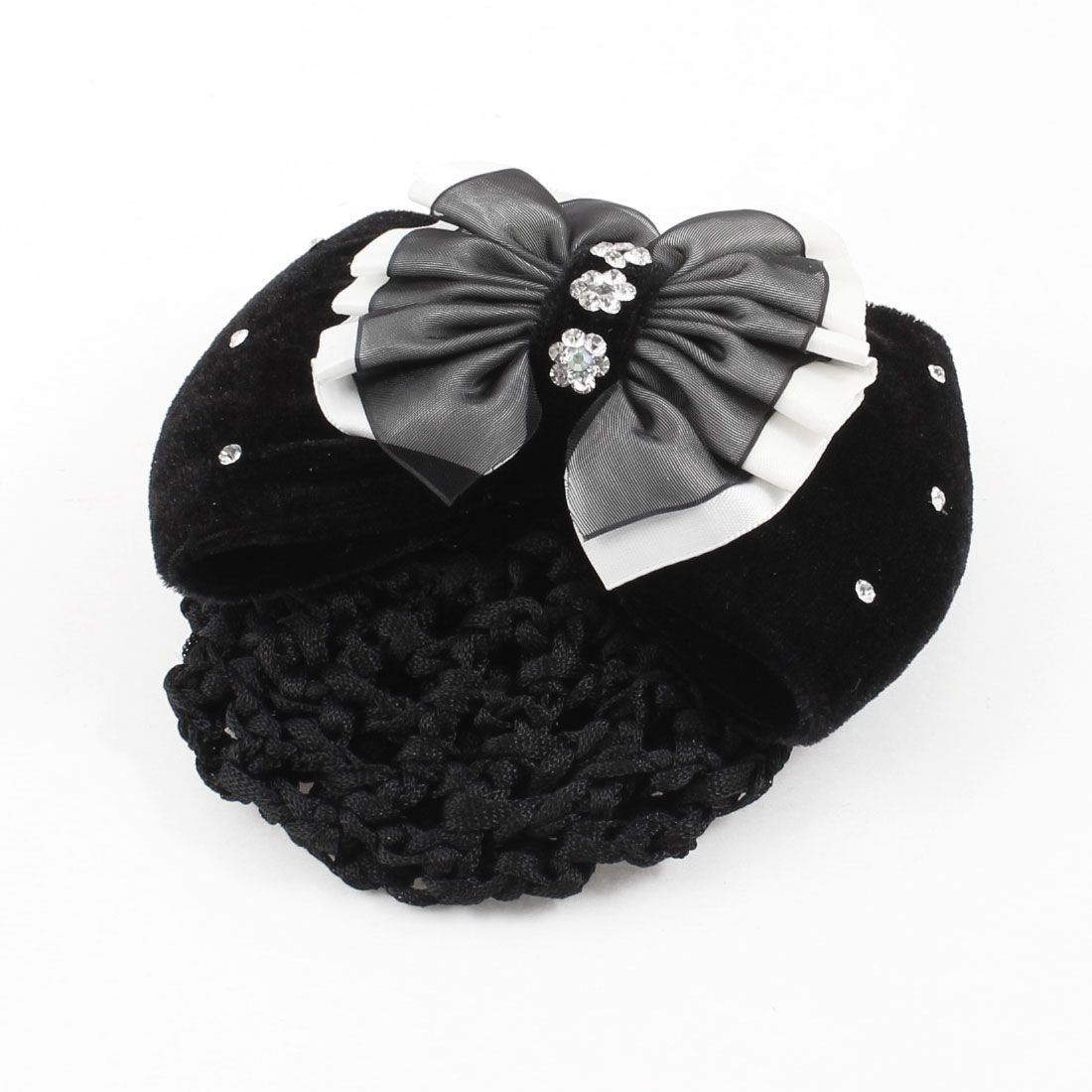 Black Dual Layers Polyester Bowknot Decoration Hairnet Hair Clip for Women