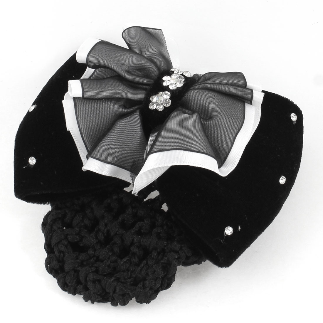 Black Dual Layers Polyester Bowknot Decor Hairnet Hair Clip for Woman
