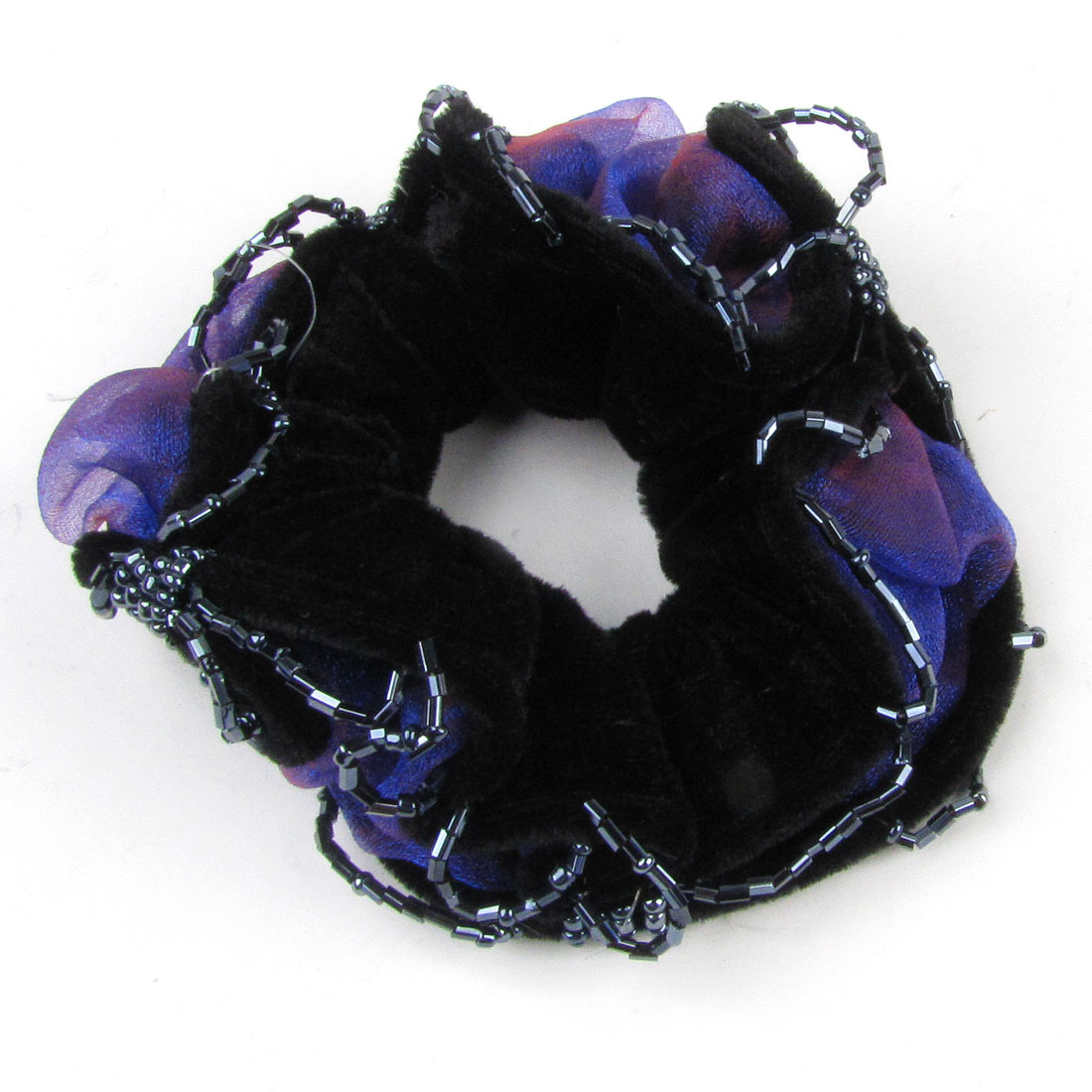 Plastic Bead Accent Black Velvet Elastic Hairdress Band Ponytail Holder for Lady