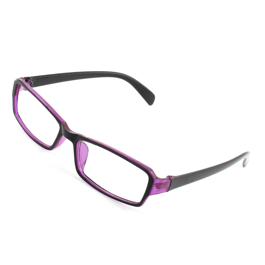 Women Plastic Frame Rectangle Clear Lens Eyewear Plain Glasses Purple Black