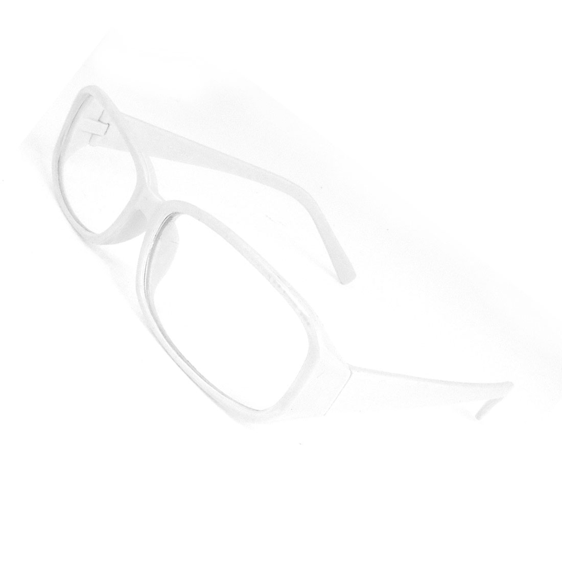 Women White Plastic Frame Rectangle Clear Lens Eyewear Plain Glasses