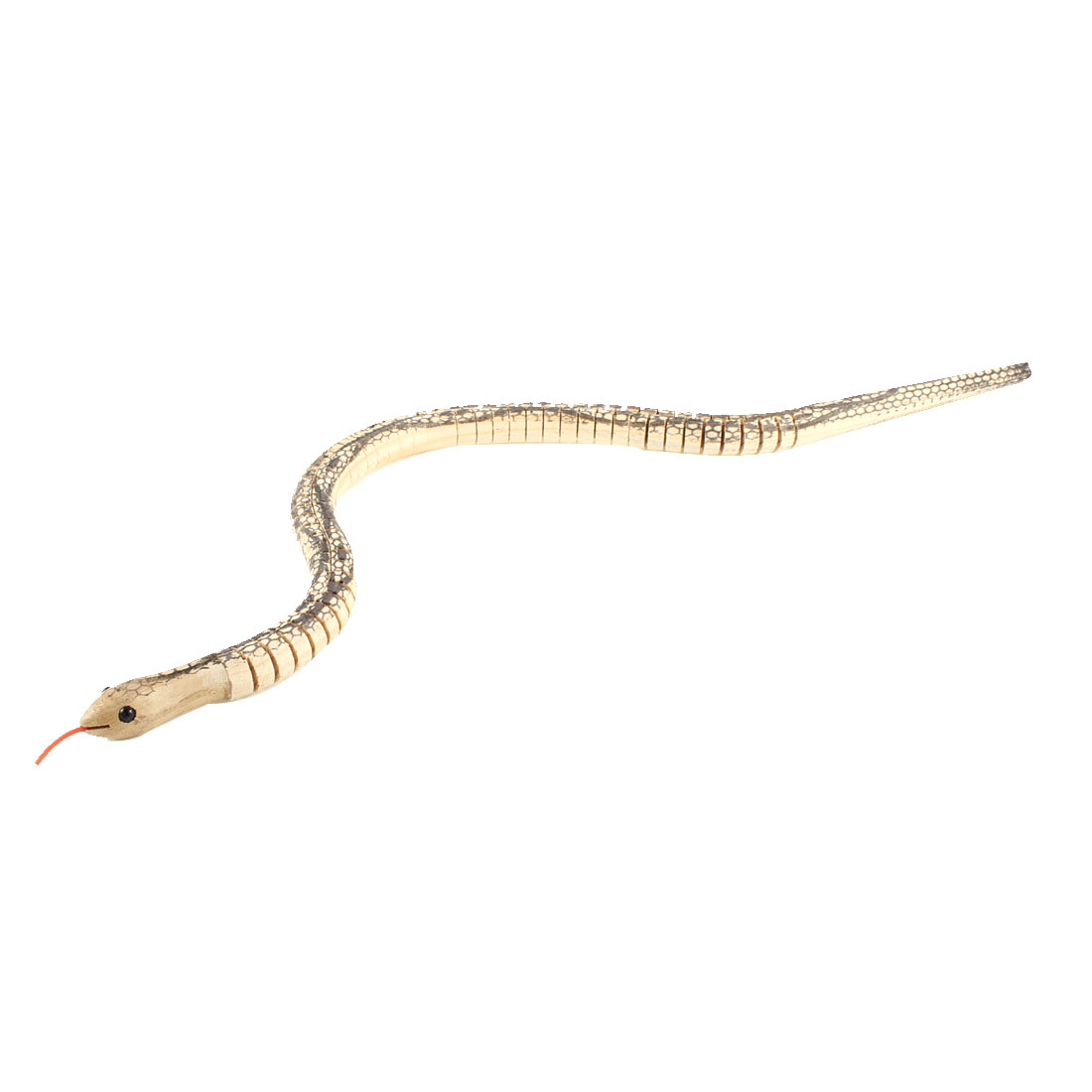 Child Gray Beige Wooden Flexible Manmade Bendy Snake Toy Ornament