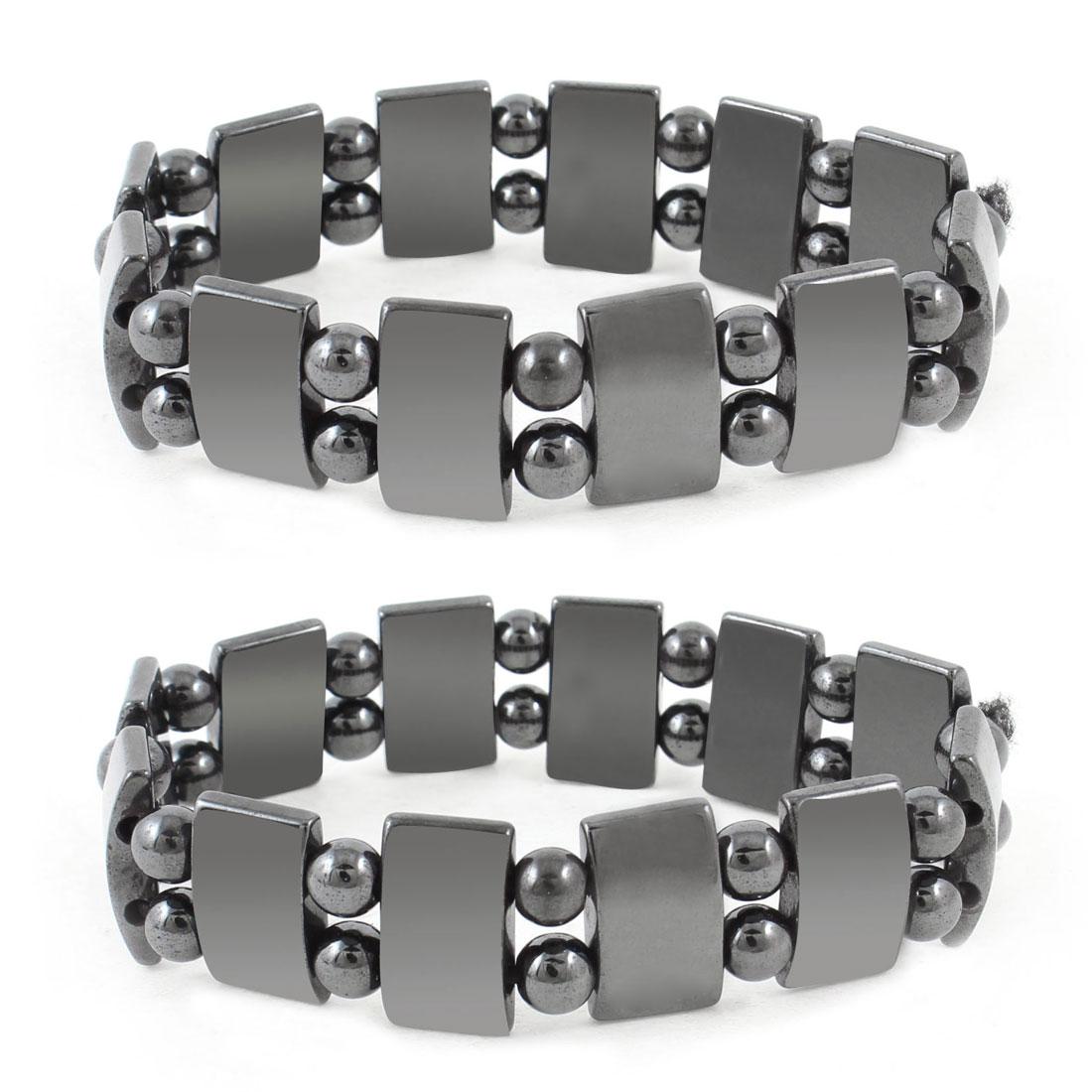 Men Lady Dark Grey Round Beads Stretch Magnetic Bracelet Bangle 2 pcs