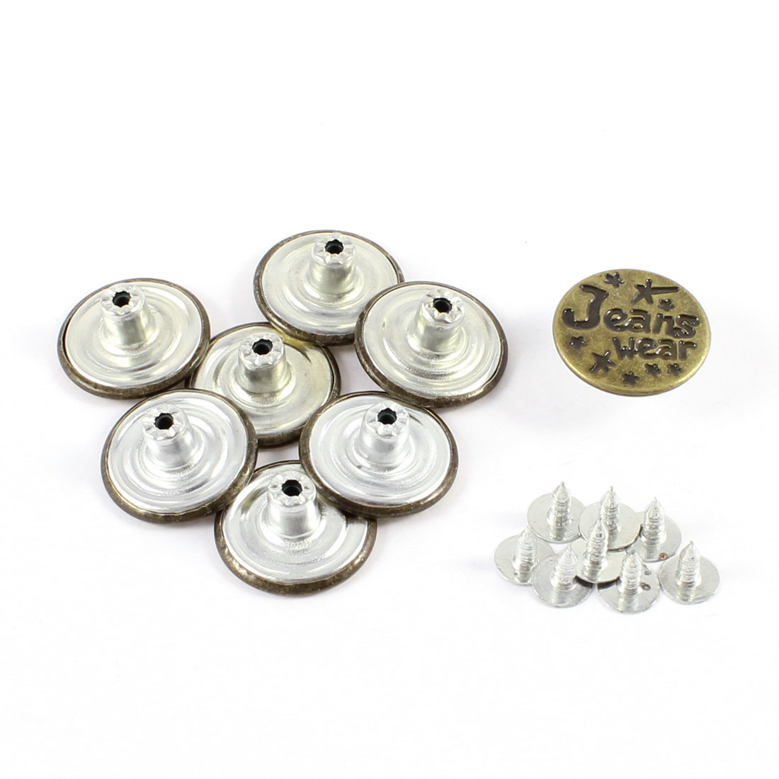 8 Pcs Replacing Part English Words Accent Round Jeans Buttons Copper Tone