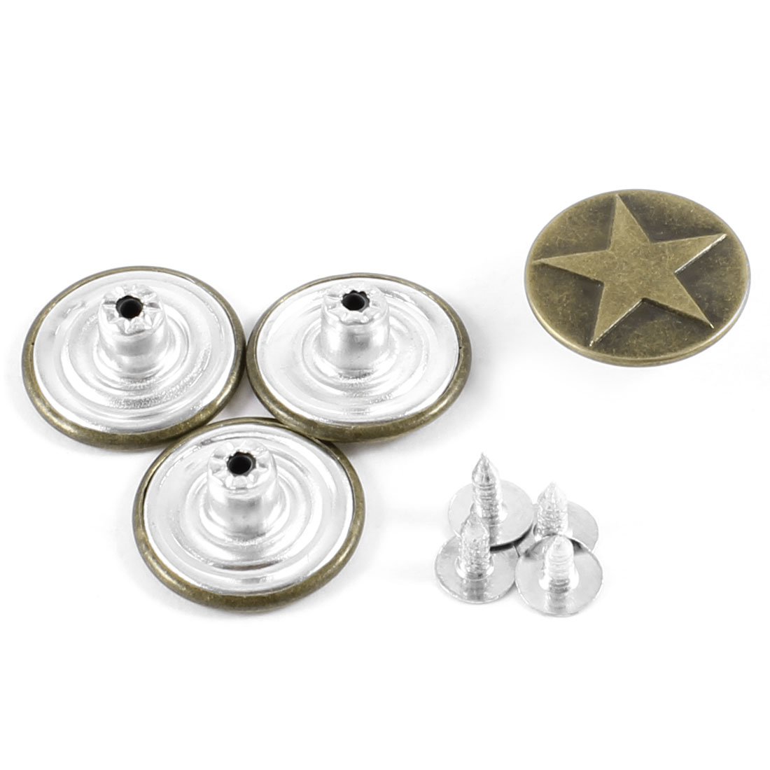 "4 Pcs 0.4"" High Replacing Part Star Print Jeans Buttons Copper Tone w Screws"