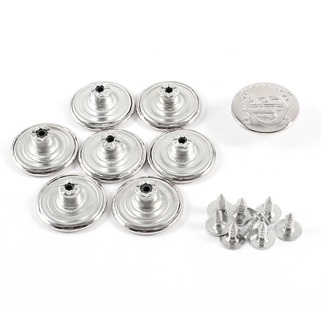 "Replacement Carved Round Shaped 0.8"" Dia Jeans Buttons Silver Tone 8 Pcs"