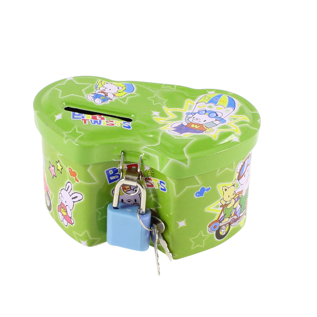 Child Double Heart Design Coin Saving Money Box Piggy Bank Green w Padlock