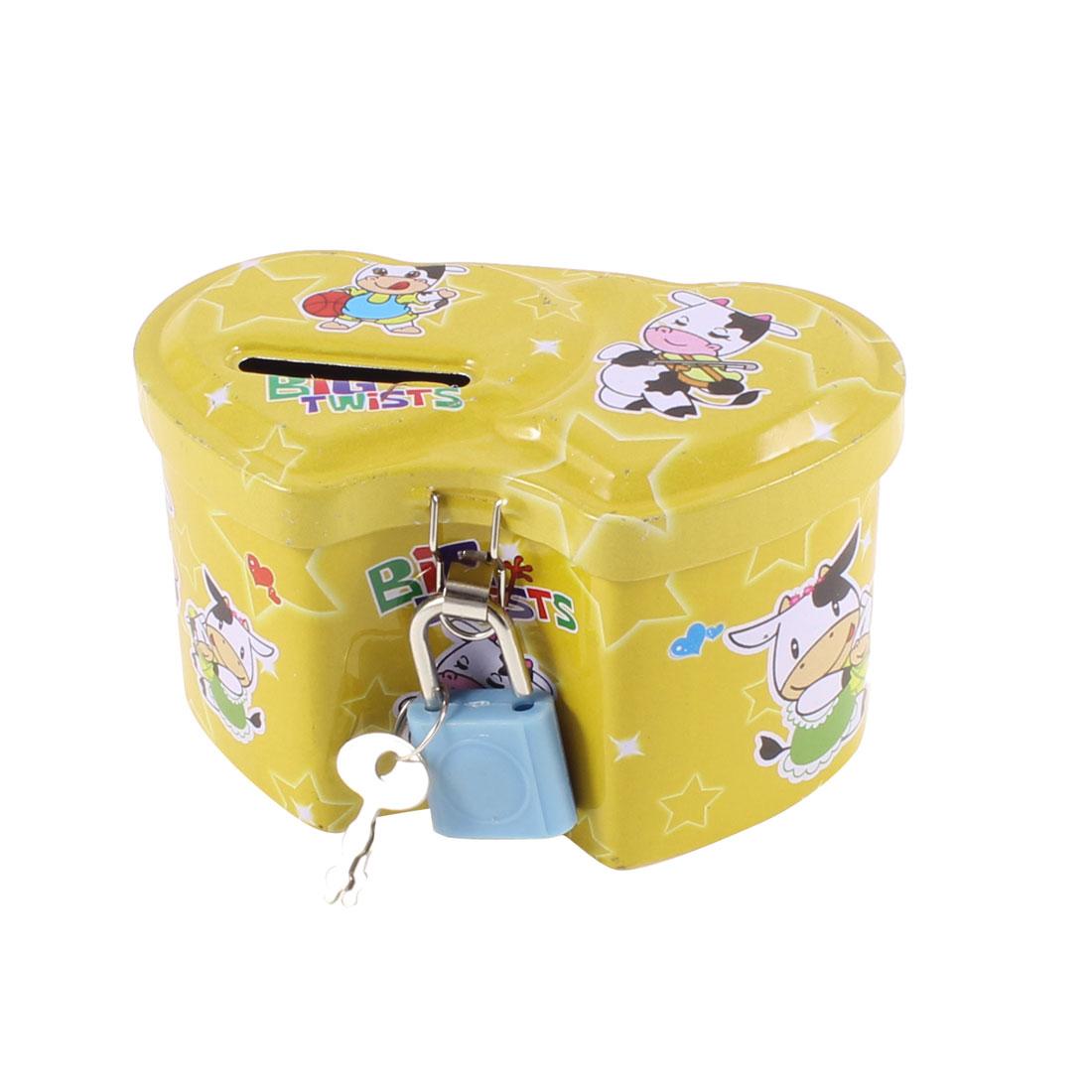 Home Heart Shape Yellow Piggy Bank Coin Money Saving Box Case 9.5cm Long