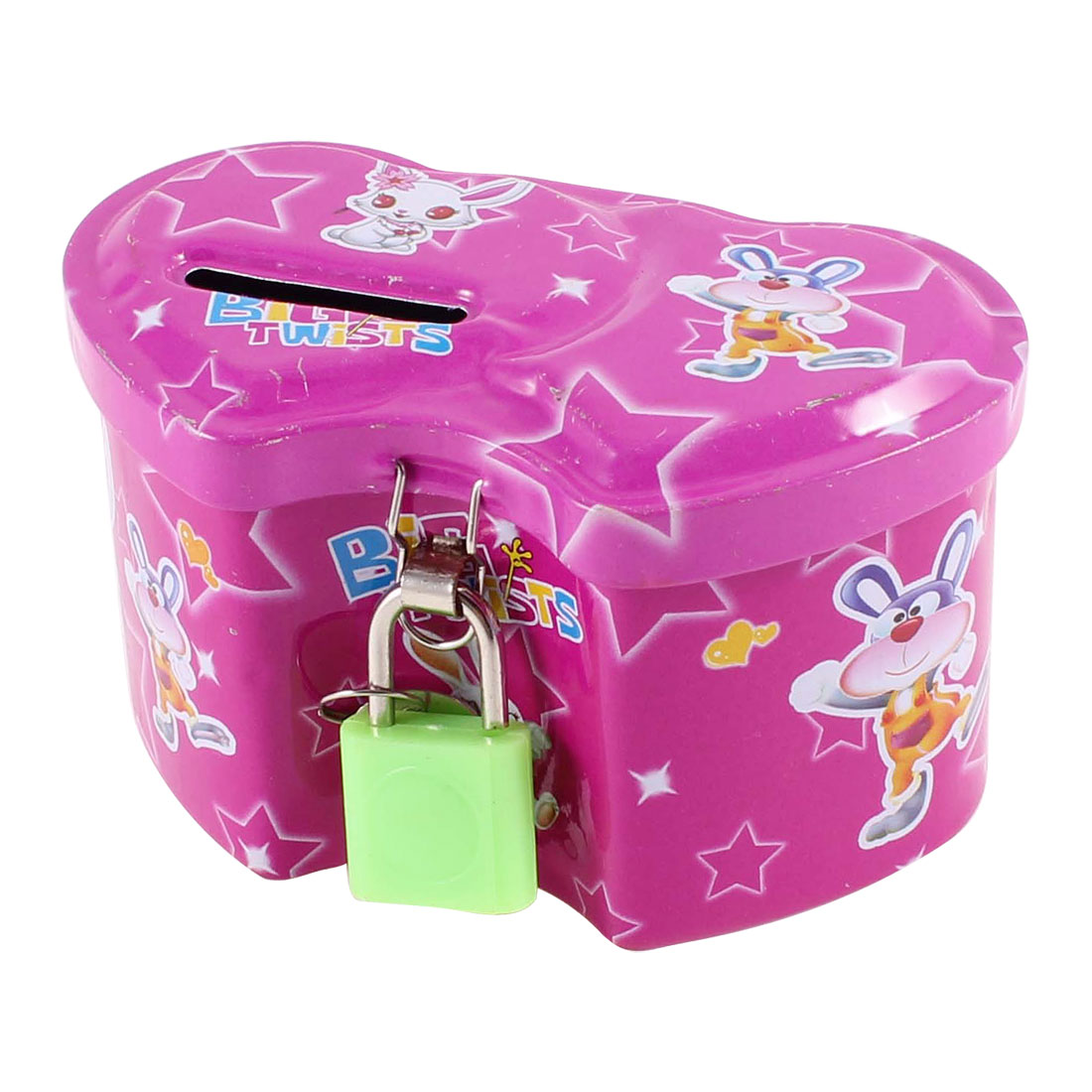 Household Cartoon Rabbit Pattern Coin Saving Money Box Piggy Bank Fuchsia