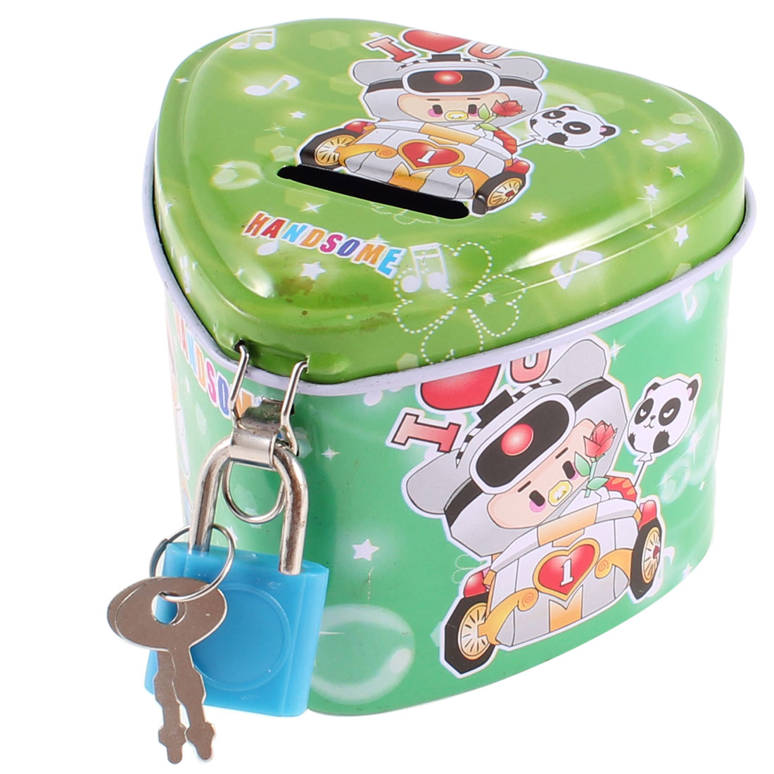 Home Heart Shape Piggy Bank Coin Money Saving Box Blue Green for Child Kids