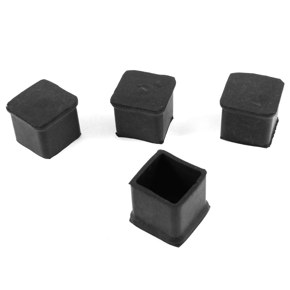 "4 Pcs 1.6"" x 1.6"" x 1.3"" Furniture Desk Chair Foot Nonslip Covers Black"