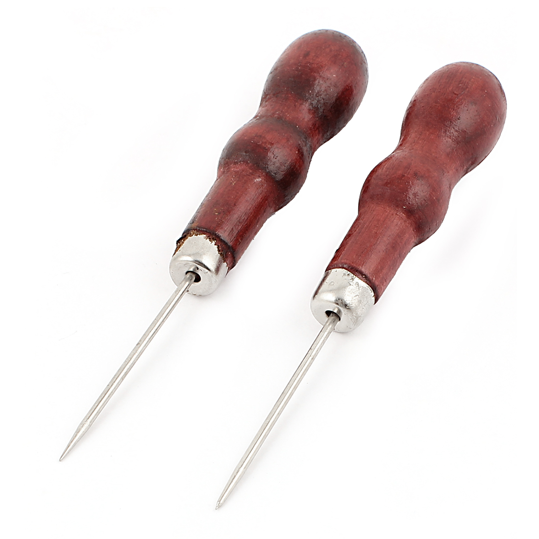 2 Pcs Nonslip Grip Metal Tapered Needle Leather Stitch Sewing Awl Burgundy