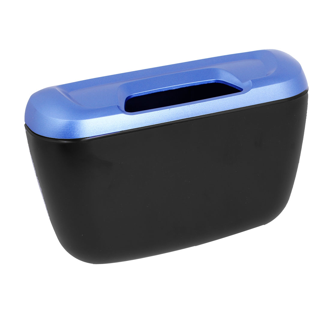 Vehicle Car Black Blue Plastic Trash Bin Garbage Container Box w Hook