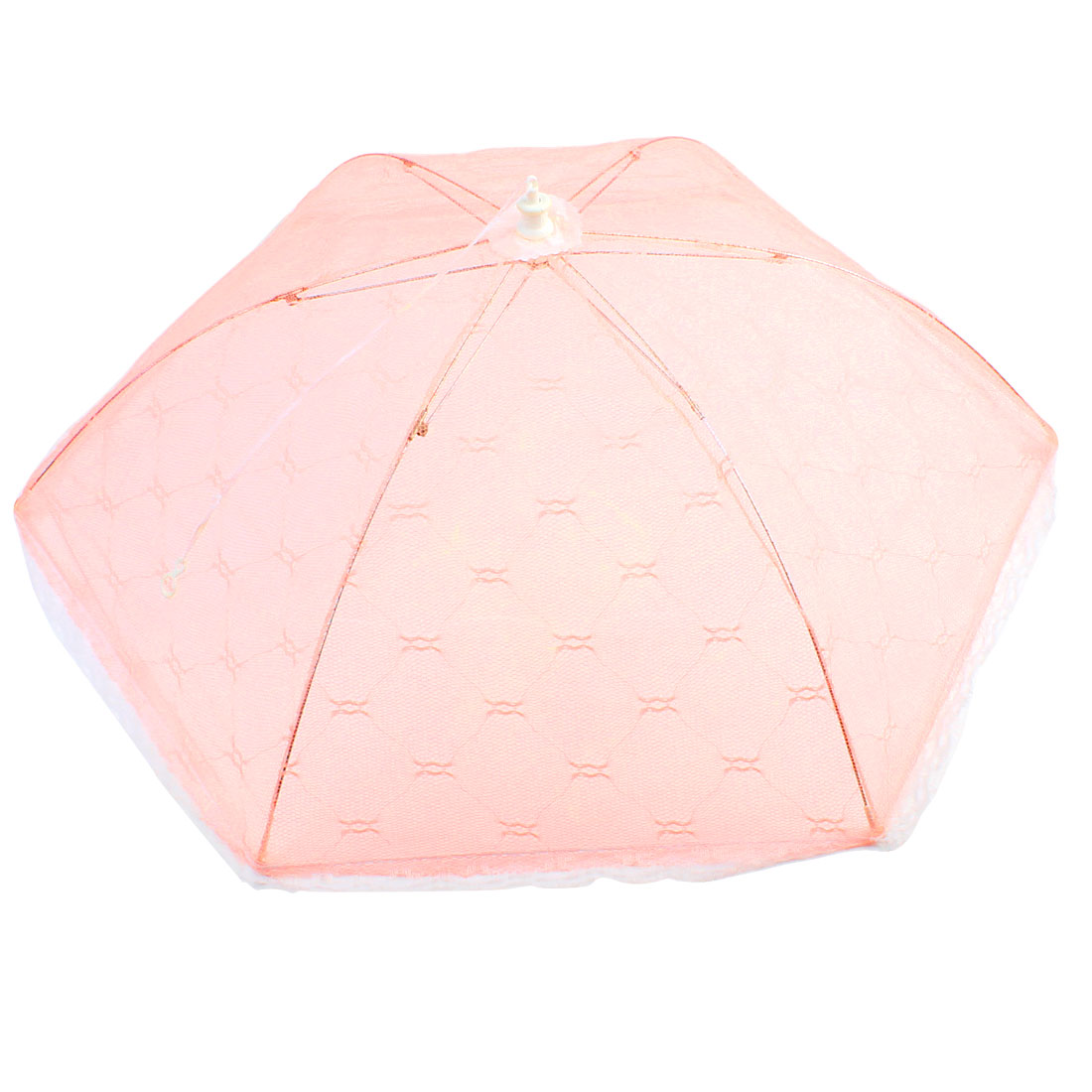 Home Rhombus Print Collapsible Food Cover Umbrella Daily Tableware Pink