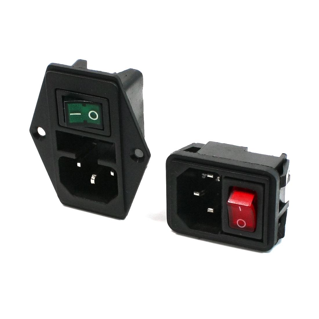 2 Pcs Circuit Connecting IEC320 C14 Inlet Power Socket Set AC 250V 10A
