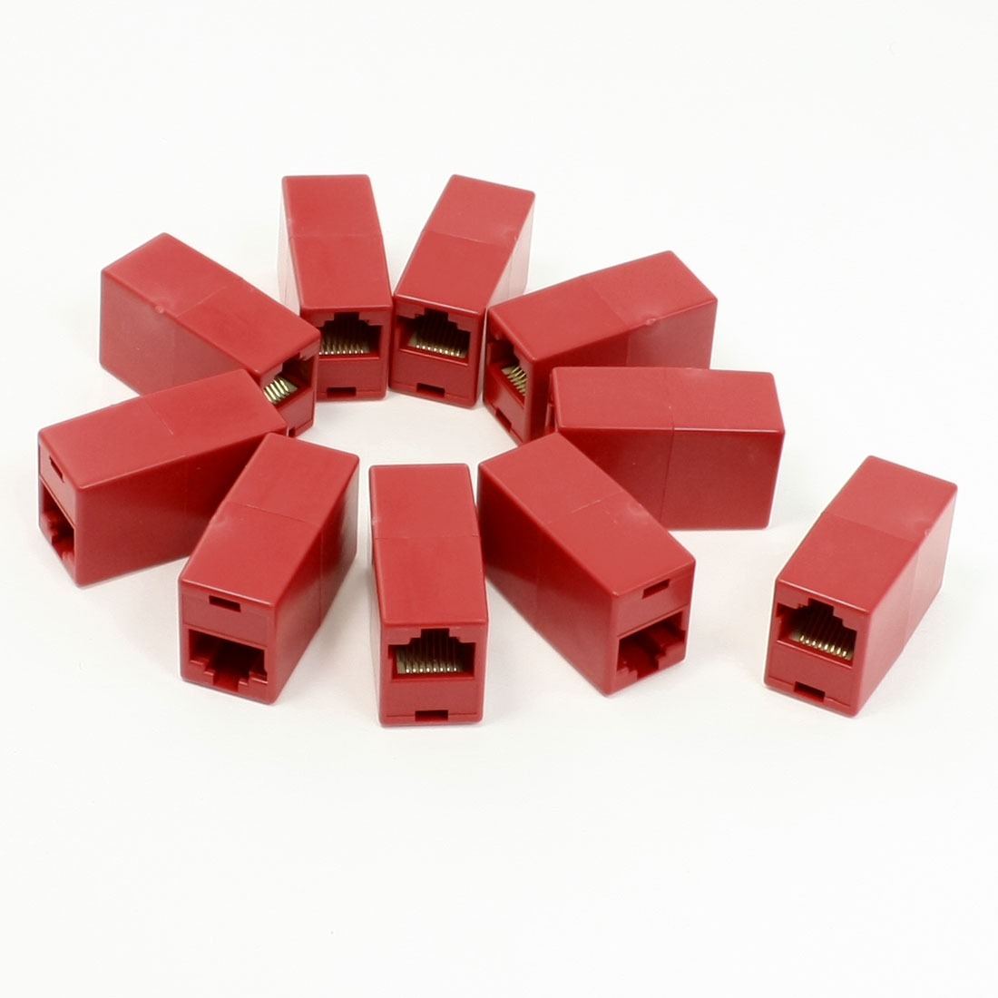 Red Double Connector RJ45 F/F Modular Network Inline Coupler Adapter 10 Pcs