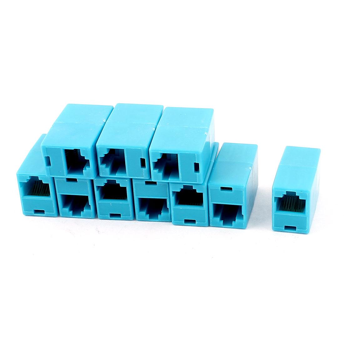 RJ45 F/F LAN Network Inline Splitter Extender Coupler Blue 10 PCS