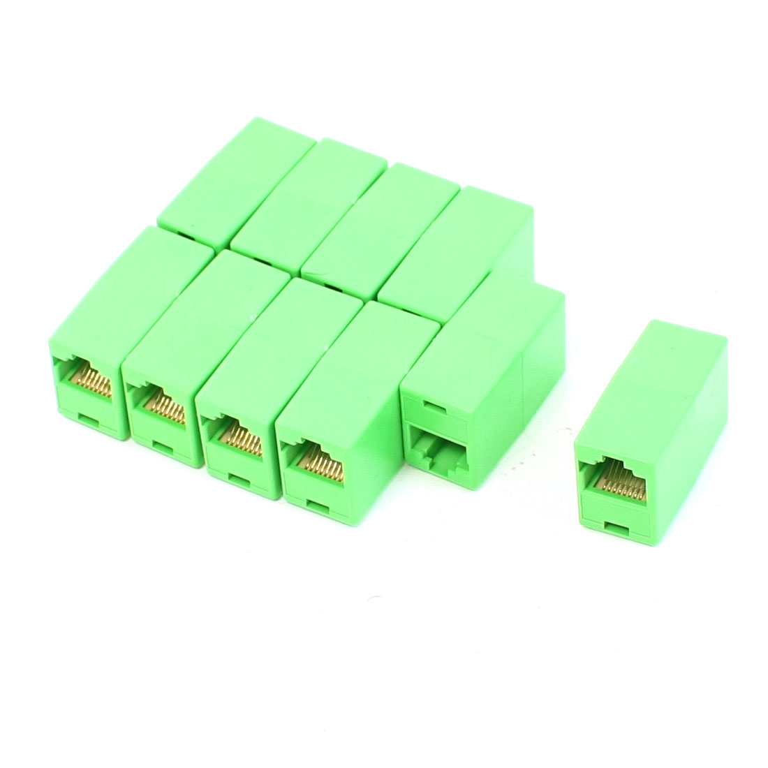 10 Pcs RJ45 8P8C Ethernet Network F/F Inline Coupler Connector Adapter Green