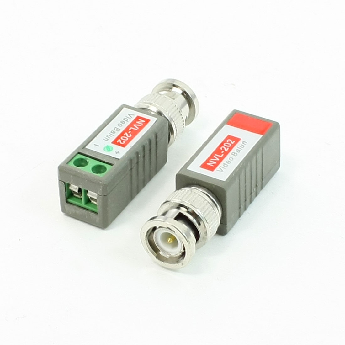 2 Pcs 1 Channel BNC Passive Video Balun Transceiver Gray