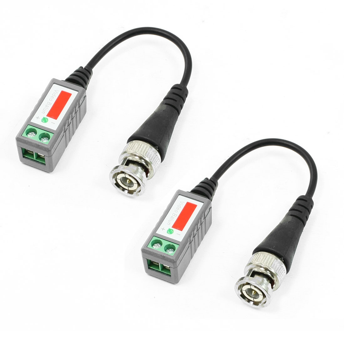 2 Pcs BNC Male Video Balun Transceiver Connector for CCTV Security Camera