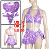 Woman Dot Print Three Piece Halter Bra Top Briefs Wrap Skirt Swimsuit Purple XS