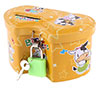 Mini Size Double Heart Shape Coin Saving Money Box Piggy Bank Yellow for Kids