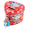 Home Heart Shaped Cartoon Print Piggy Bank Money Saving Box Red