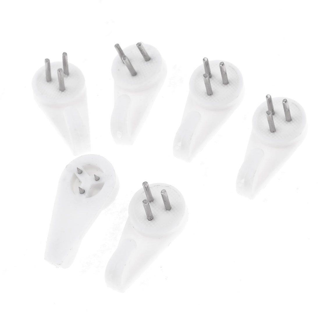 White Plastic Non-mark Wall Picture Photo Frame Hanger Hooks Nails 6 Pcs