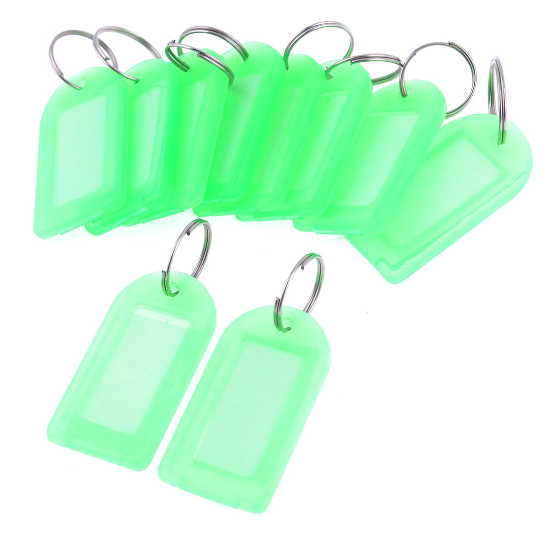 Waiter 10 Pcs Light Green Plastic Name Tag Badge Clip Holder w Keyring