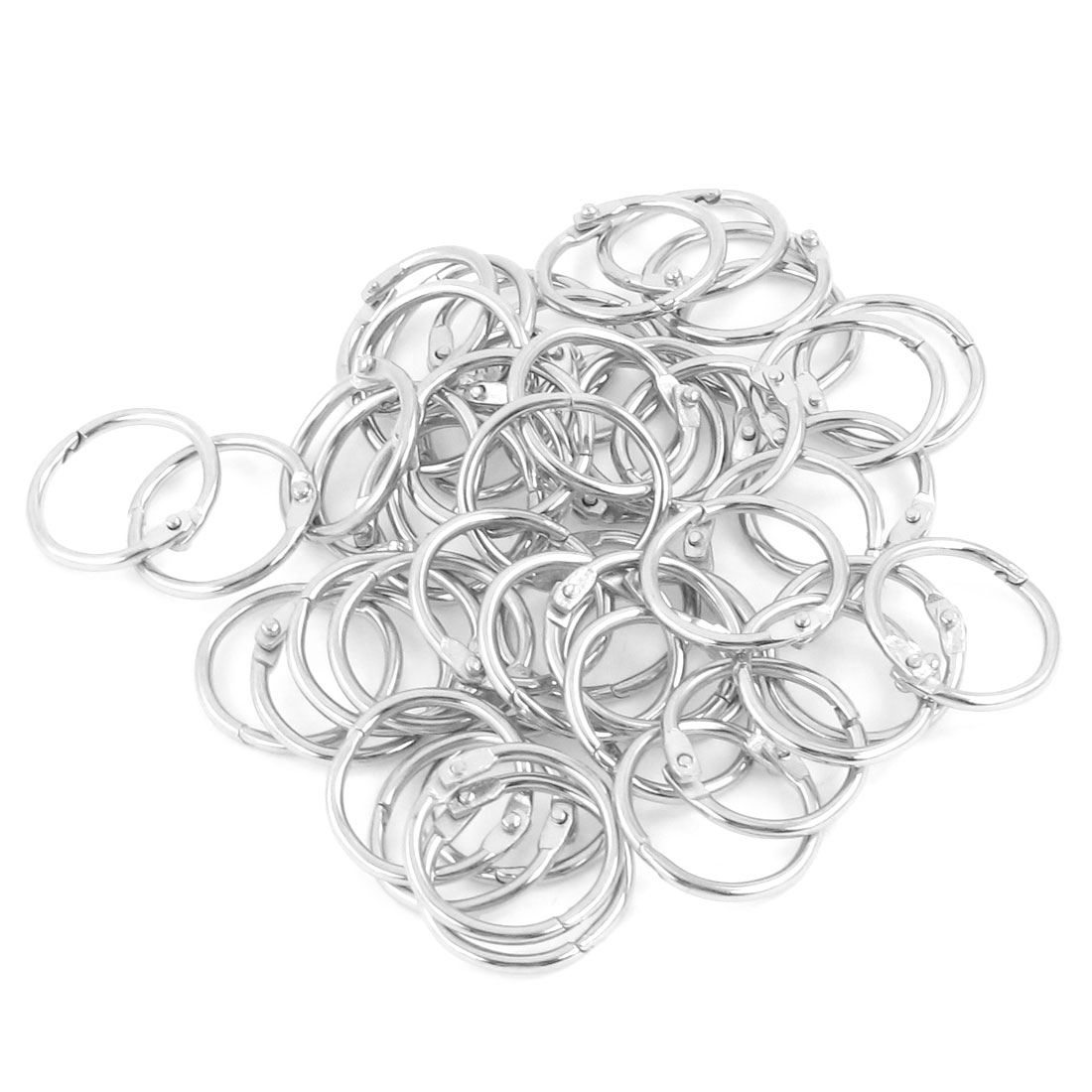 50 Pcs 25mm Diameter Silver Tone Metal Keyring Key Rings