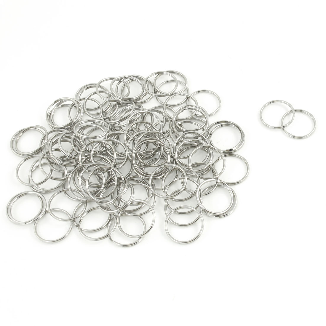 50 Pcs 23mm Diameter Silver Tone Metal Keyring Key Rings