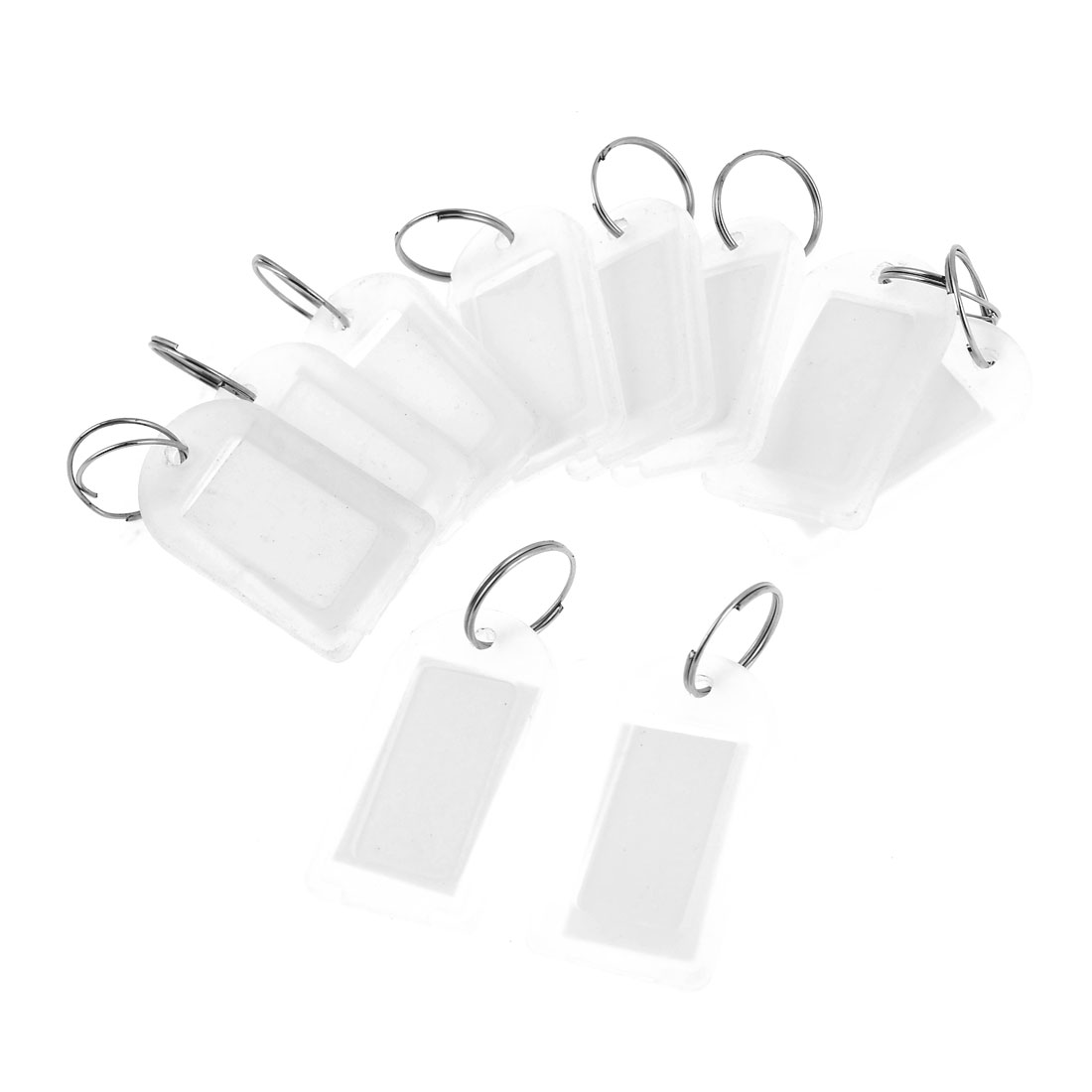 Travellers Plastic Name Package Tag Photo Holder w Keyring Clear 1.8 Inch Long 10 Pcs