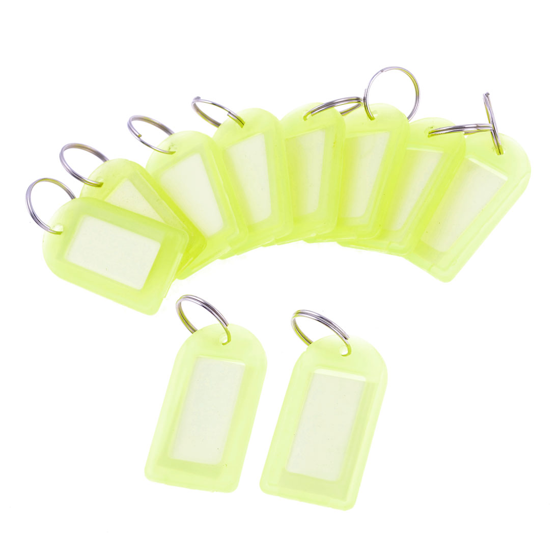 Supermarket 10 Pcs Light Yellow Plastic Name Tag Badge Clip Holder w Key Chain