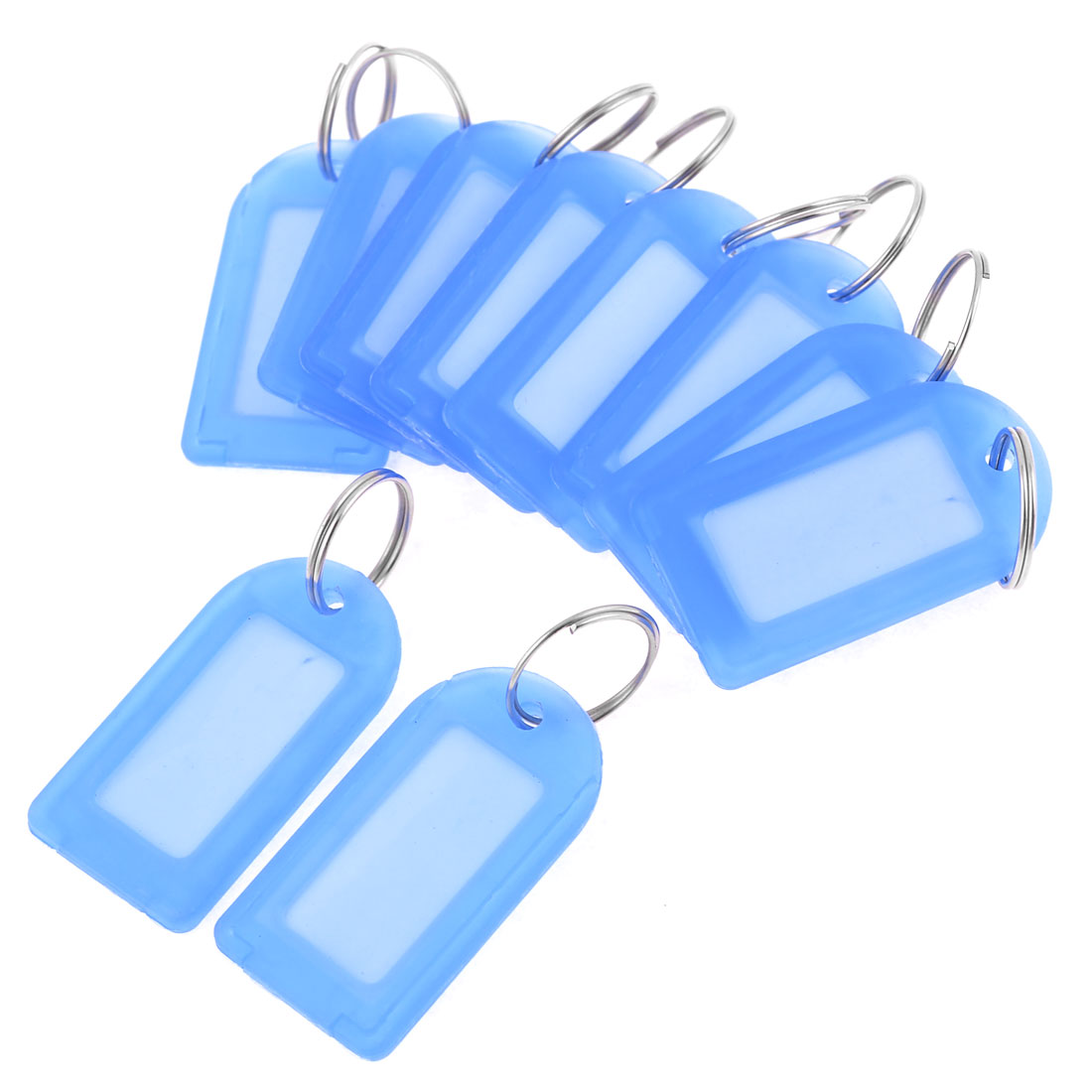 Waitress 10 Pcs Blue Plastic Name Tag Badge Clip Photo Holder w Key Chain