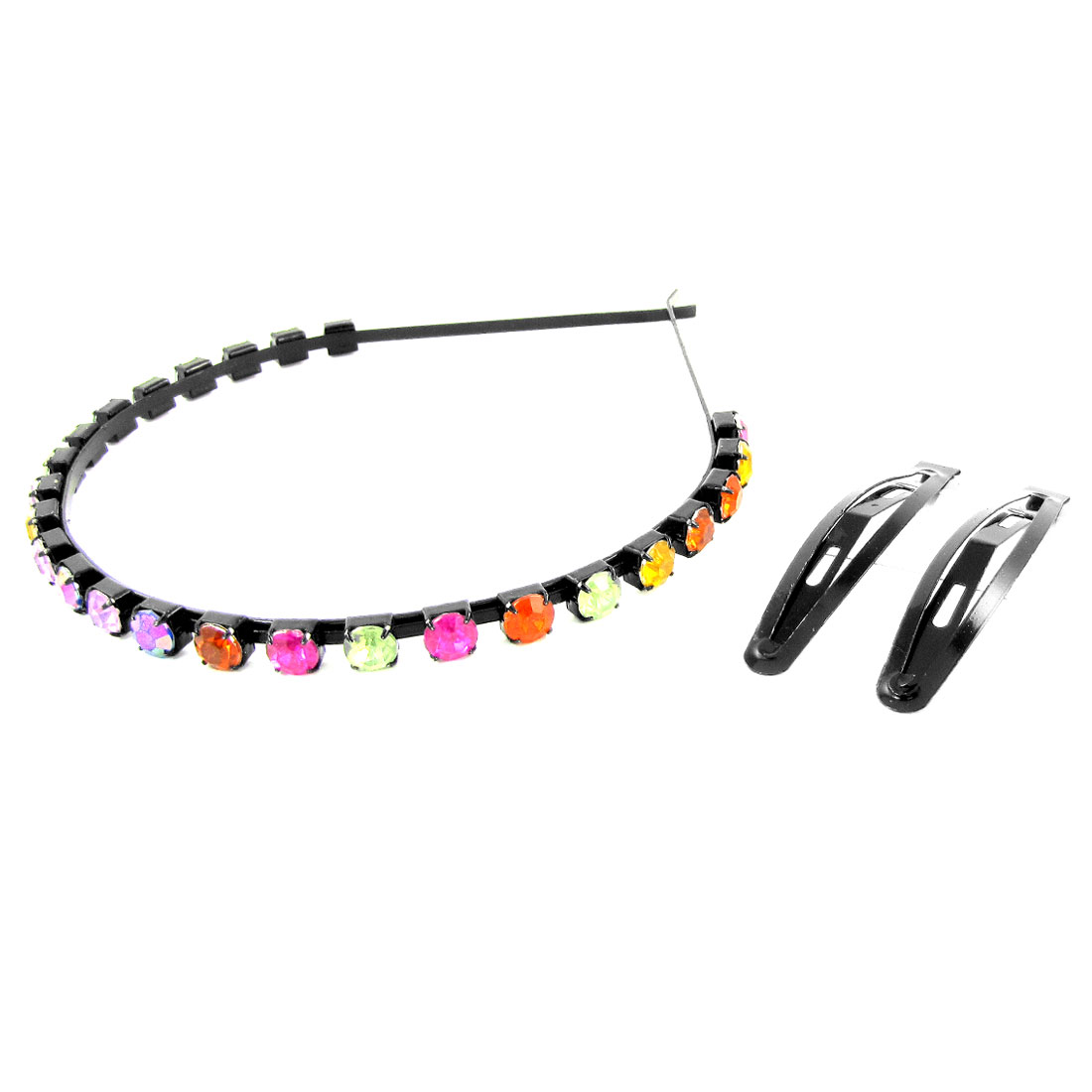 Ladies Colorful Faux Crystal Black Metal Hair Hoop Hairpin Set