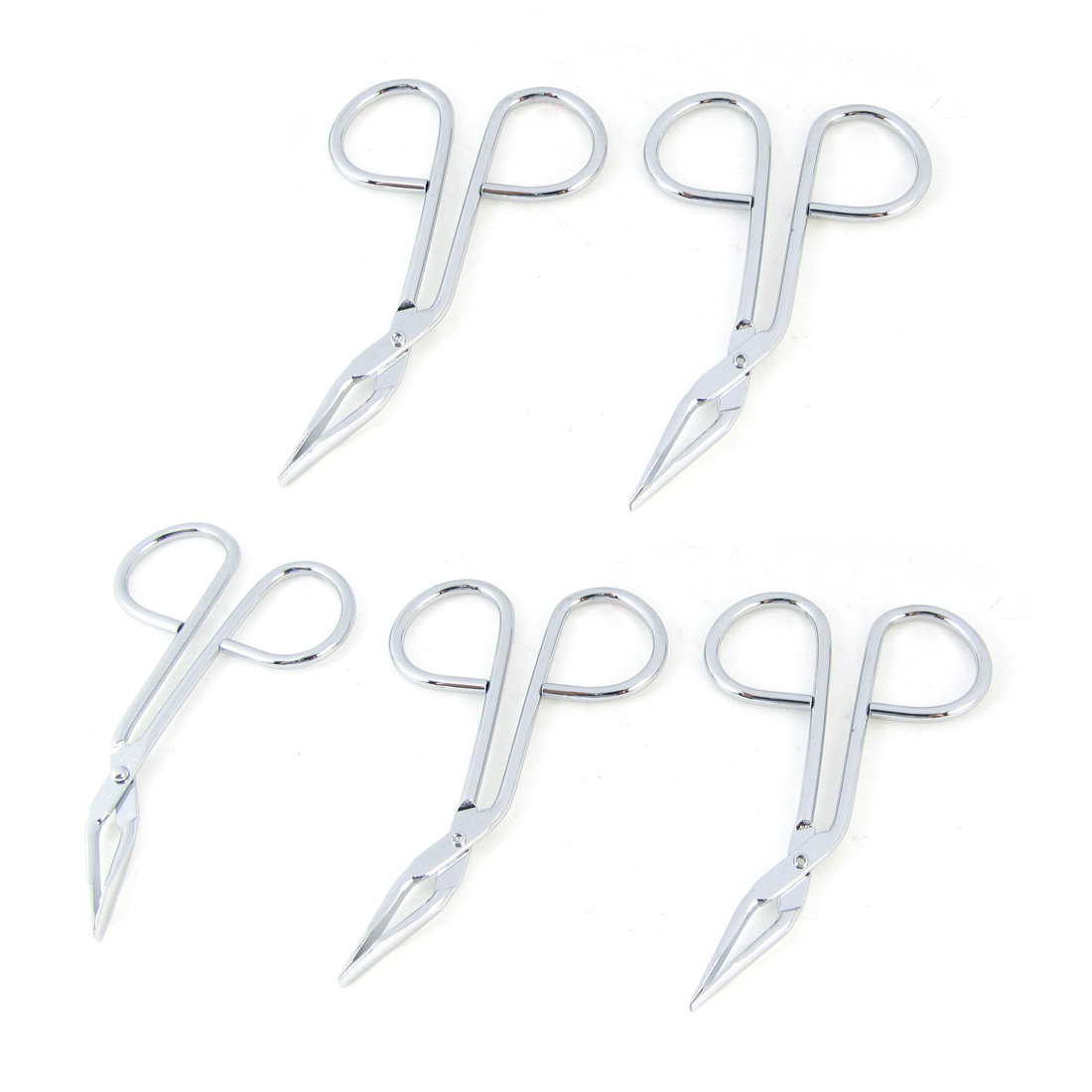 5 Pcs Silver Tone Eyebrow Scissors Trimmers Epilation Makeup Tool for Women