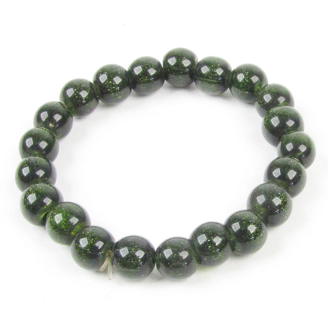 Blackgreen Beaded 21 Round Beads Elastic Bracelet 10 Pcs