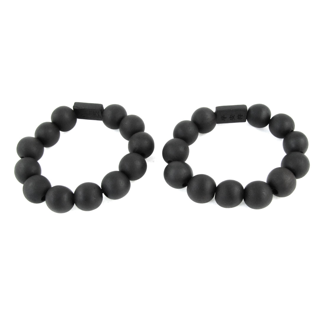 l2 Pcs Beaded 12 Round Wooden Beads Elastic Bracelet Black