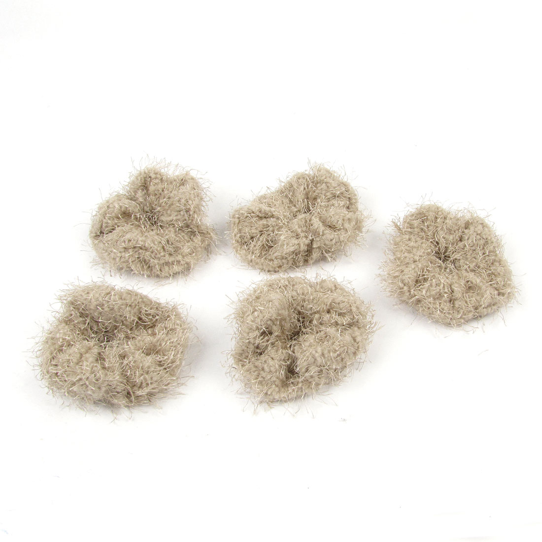 5 Pcs Cotten Blends Stretch Hair Band Ponytail Holder Khaki for Woman Lady