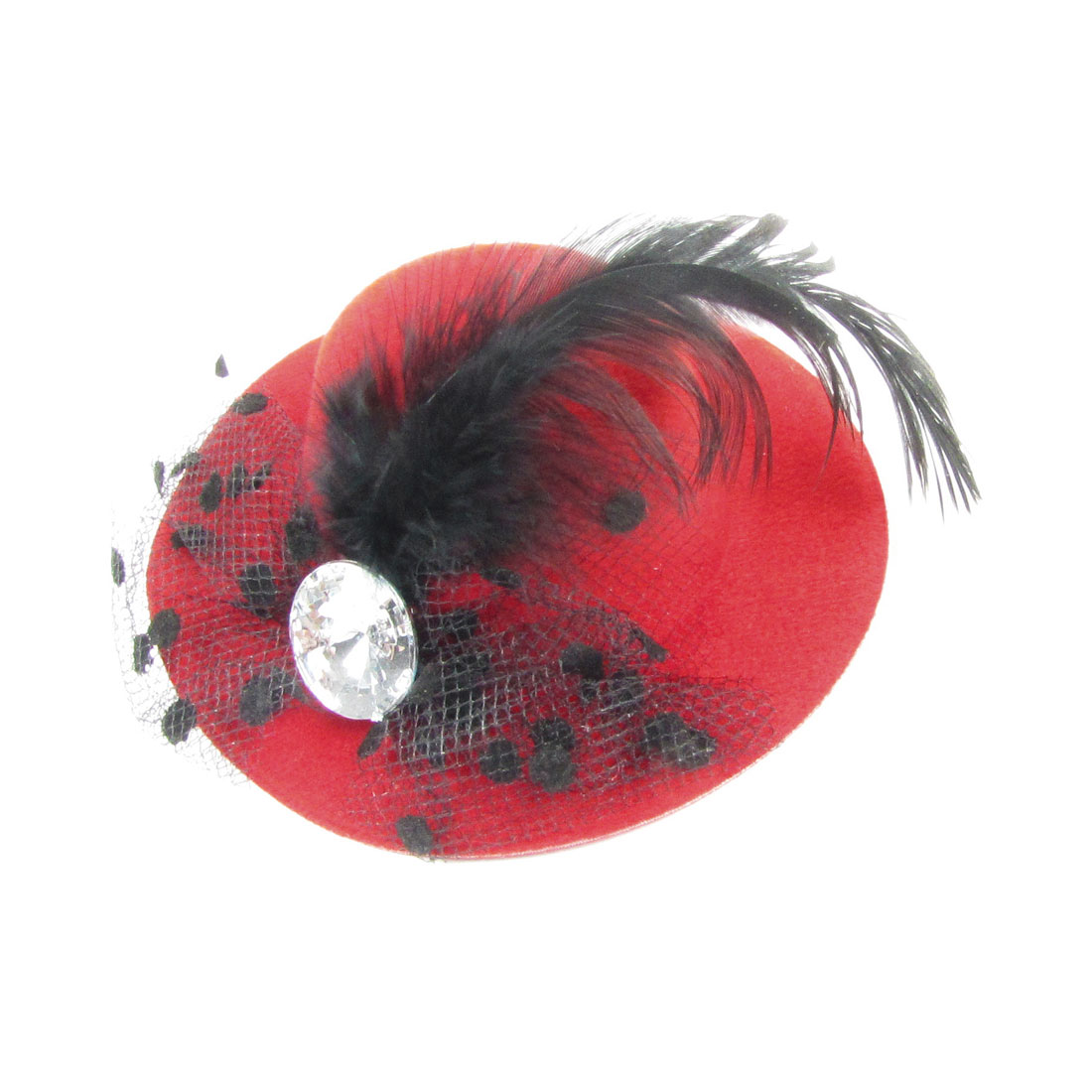 Wedding Black Feather Mesh Red Top Hat Metal Alligator Hair Clip Hairpin
