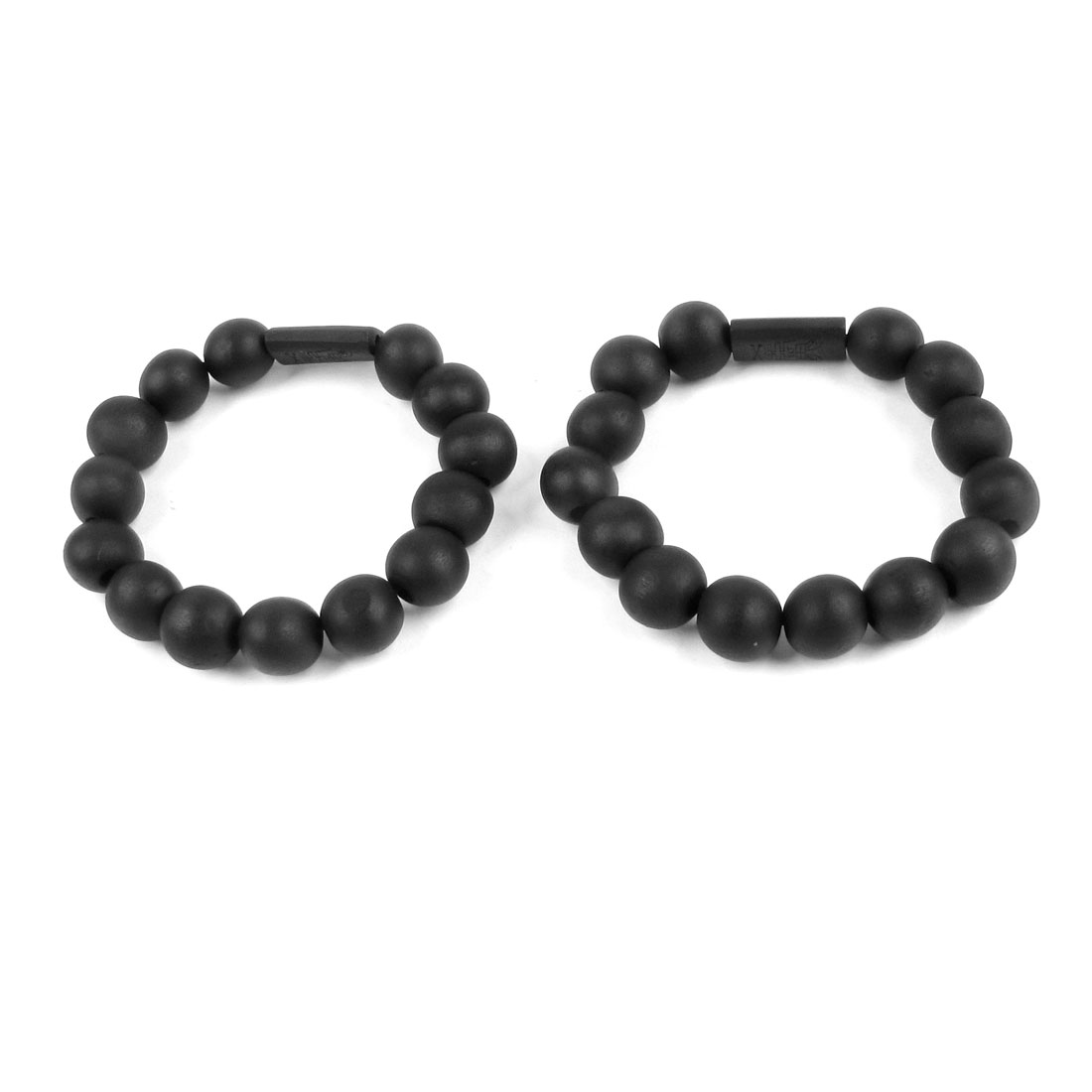 Black 14 Wooden Round Beads Stretch Wrist Bracelet 2pcs