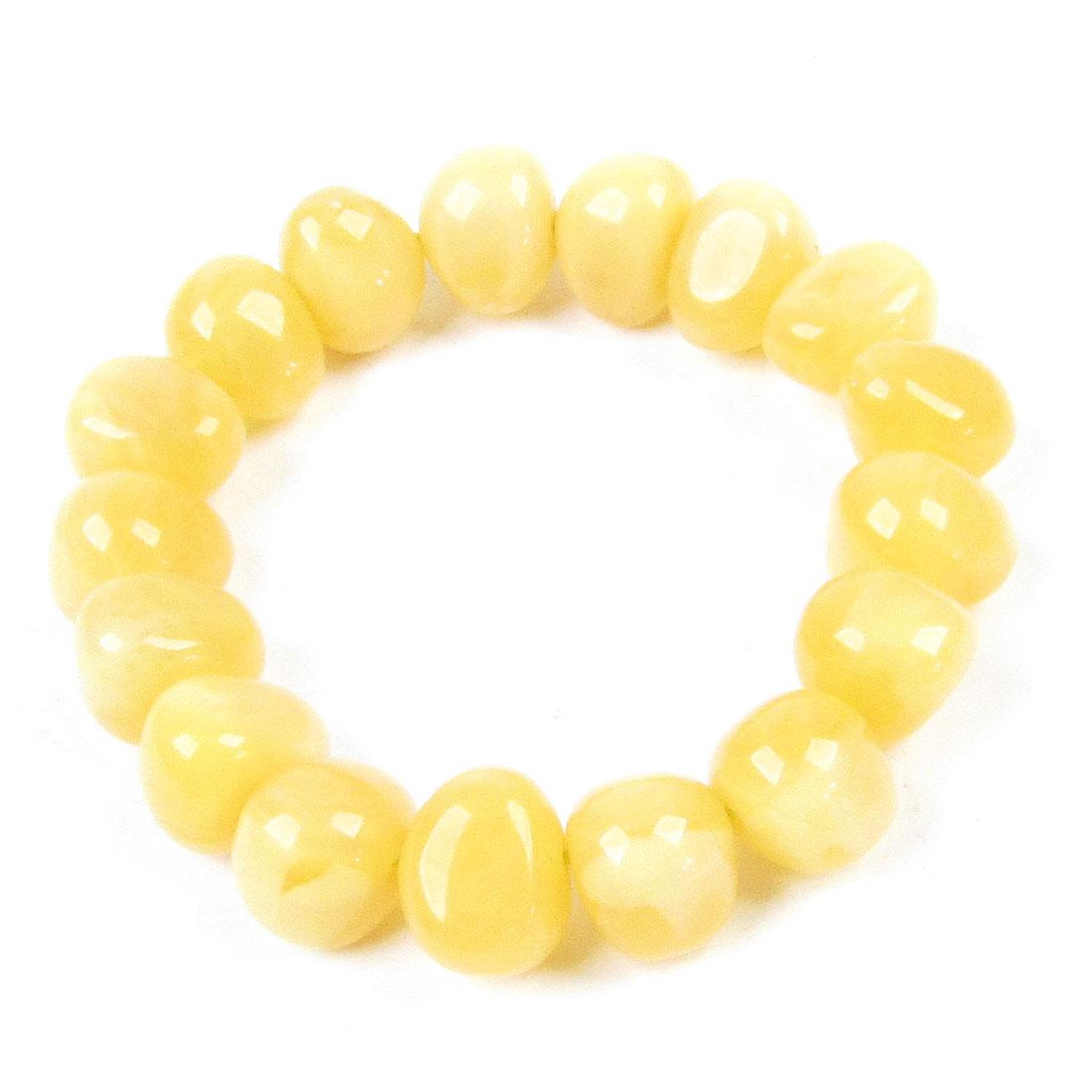Irregular Plastic 17 Beads Stretchy Wrist Bracelet Light Yellow