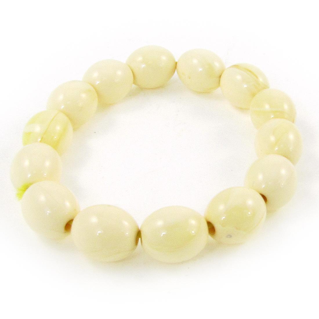 Beige 14 Plastic Oval Beads Elastic Wrist Bracelet