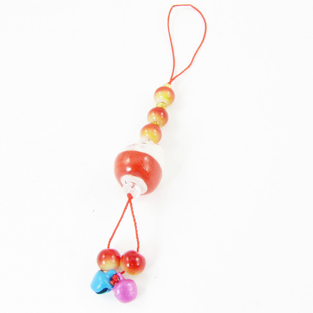 Red Strap Cartoon Ceramic Pig Head Fuchisa Blue Bells Pendants Cell Phone Cord