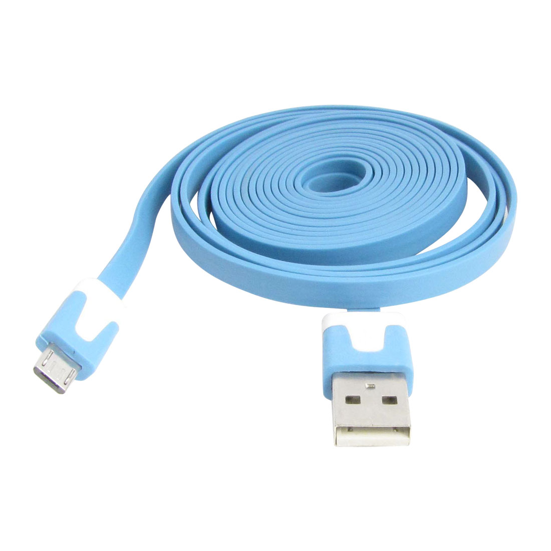 Flat Soft 2 Meters Micro USB Data Charging Extension Cable Blue for Motorola V8
