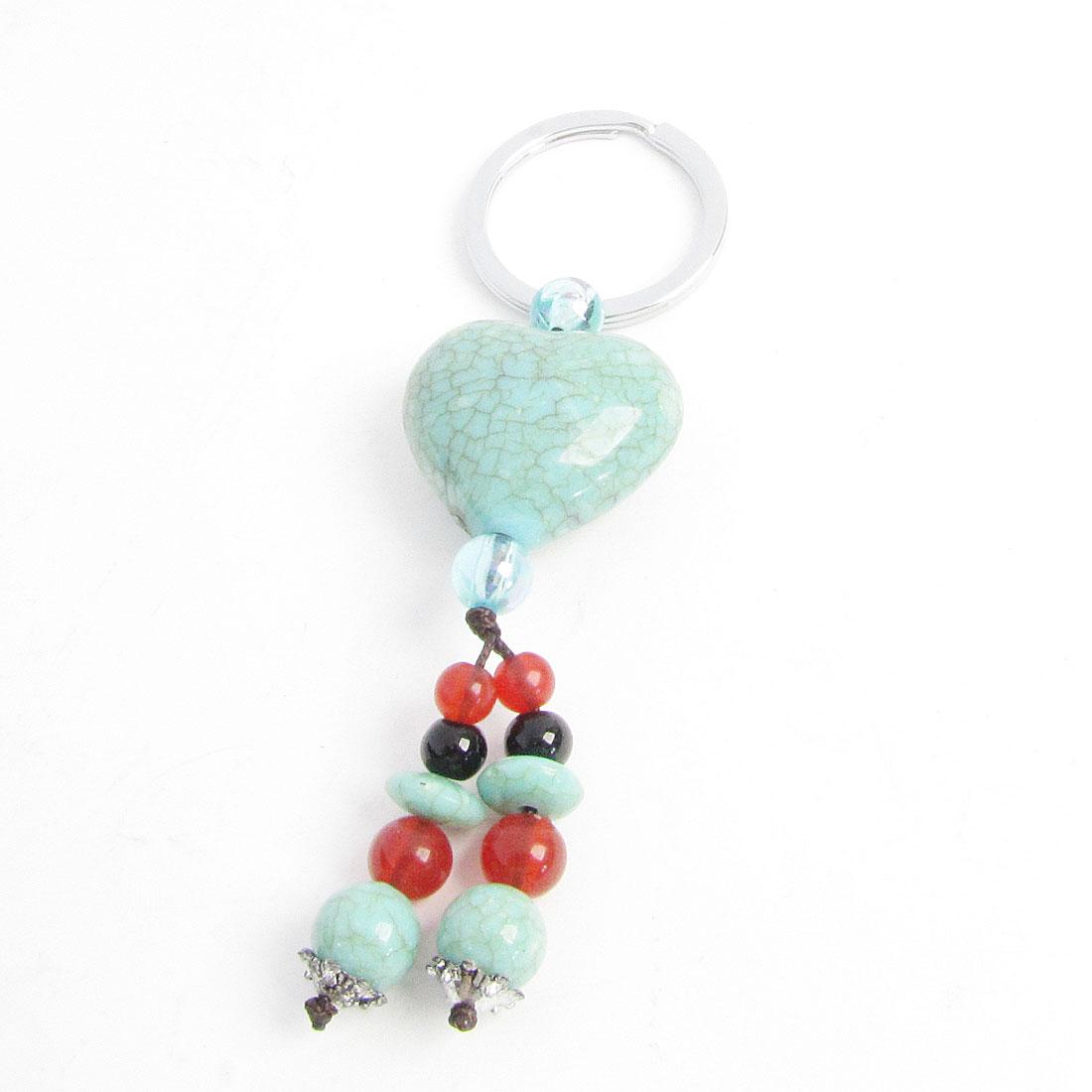 Turquoise Heart Design Plastic Jade Pendant Metal 3cm Dia Keyring Key Ring