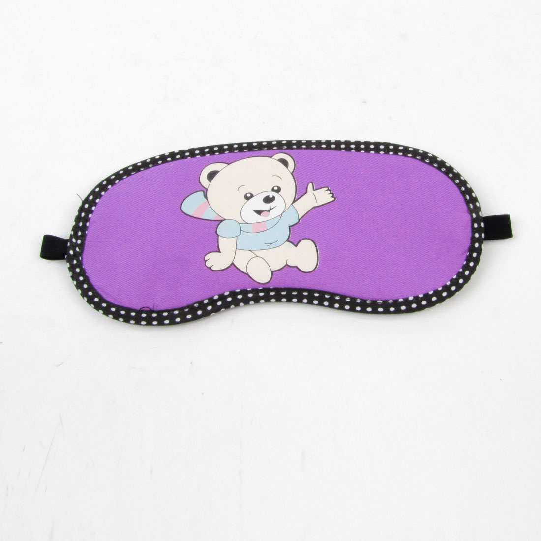 White Dots Black Rim Purple Cartoon Bear Print Elastic Strap Eye Mask Cover