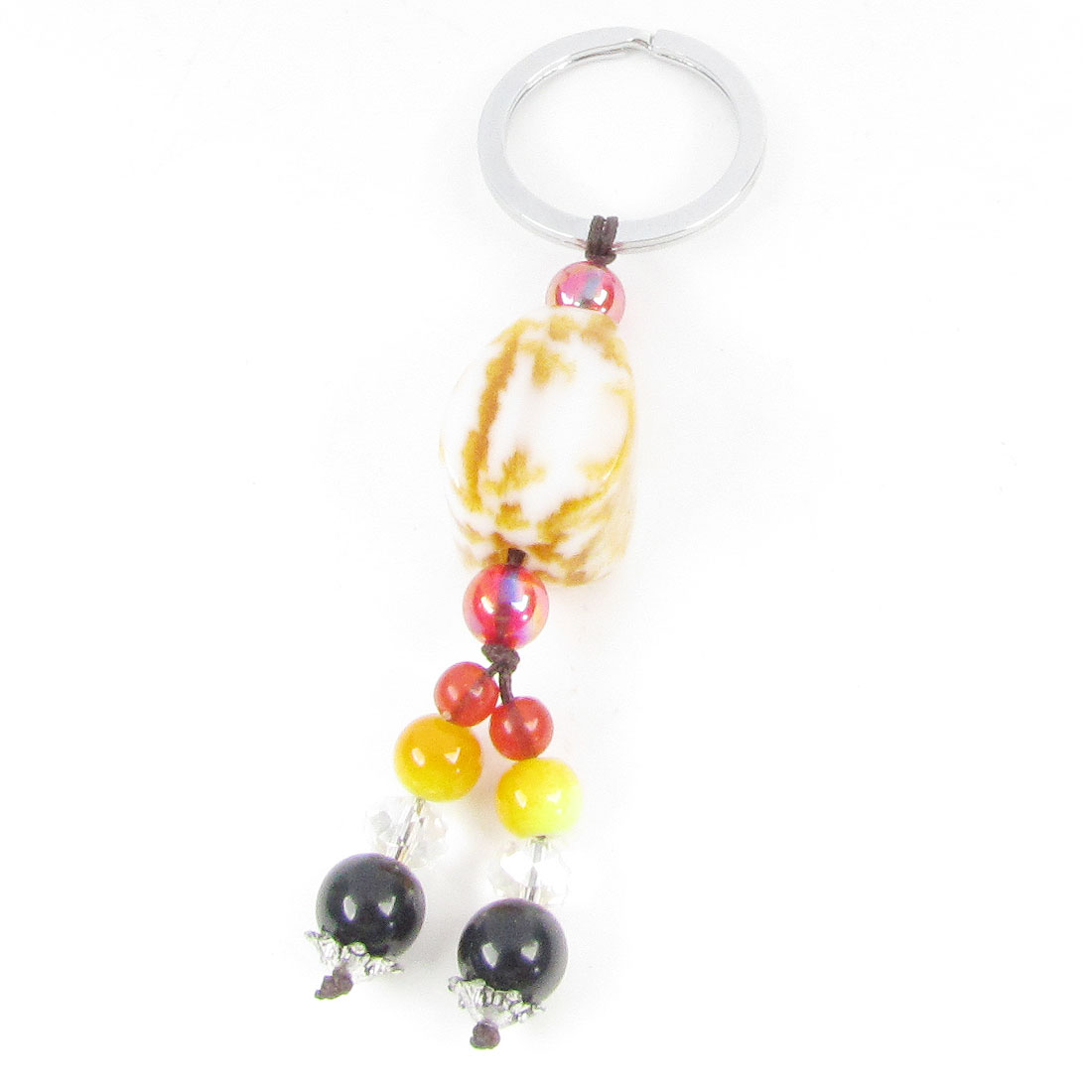 Yellow Bead Plastic Faux Jade Pendant 3cm Dia Rings Key Ring Keychain