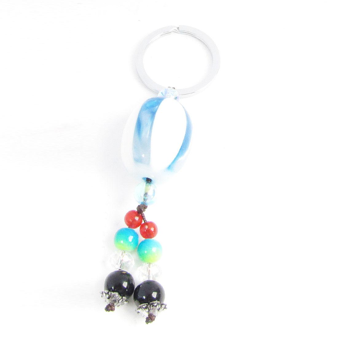 Black Beads Blue White Oval Faux Jade Pendant Keys Ring Keyring Keychain