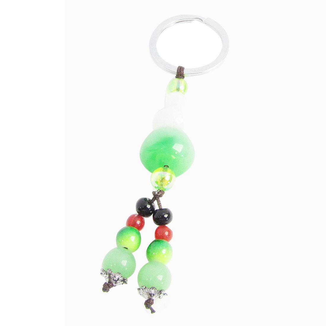 Calabash Plastic Jade Green White Pendant Metal 3cm Dia Keyring Key Ring